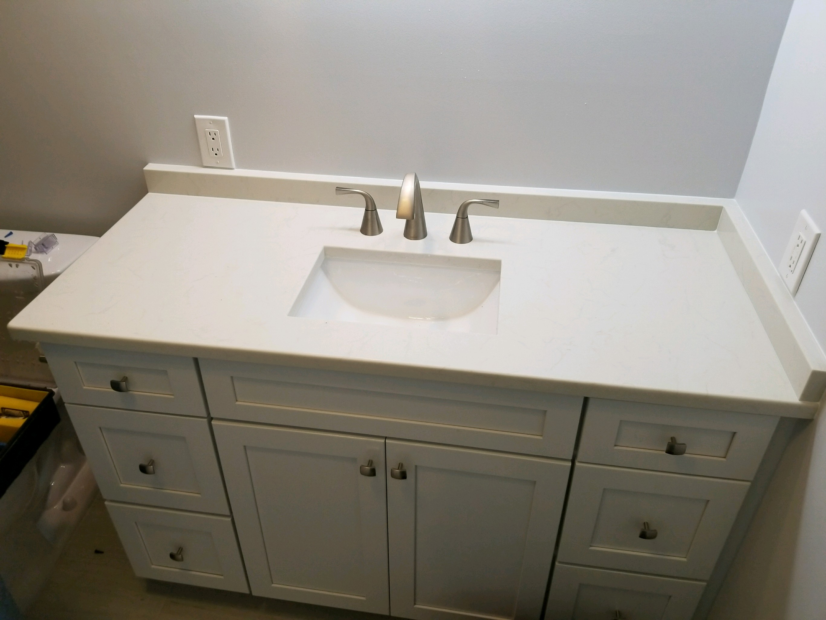 Pelican Winter White Quartz Bathroom Vanity Countertop Remodel In - Bathroom cabinets tampa fl