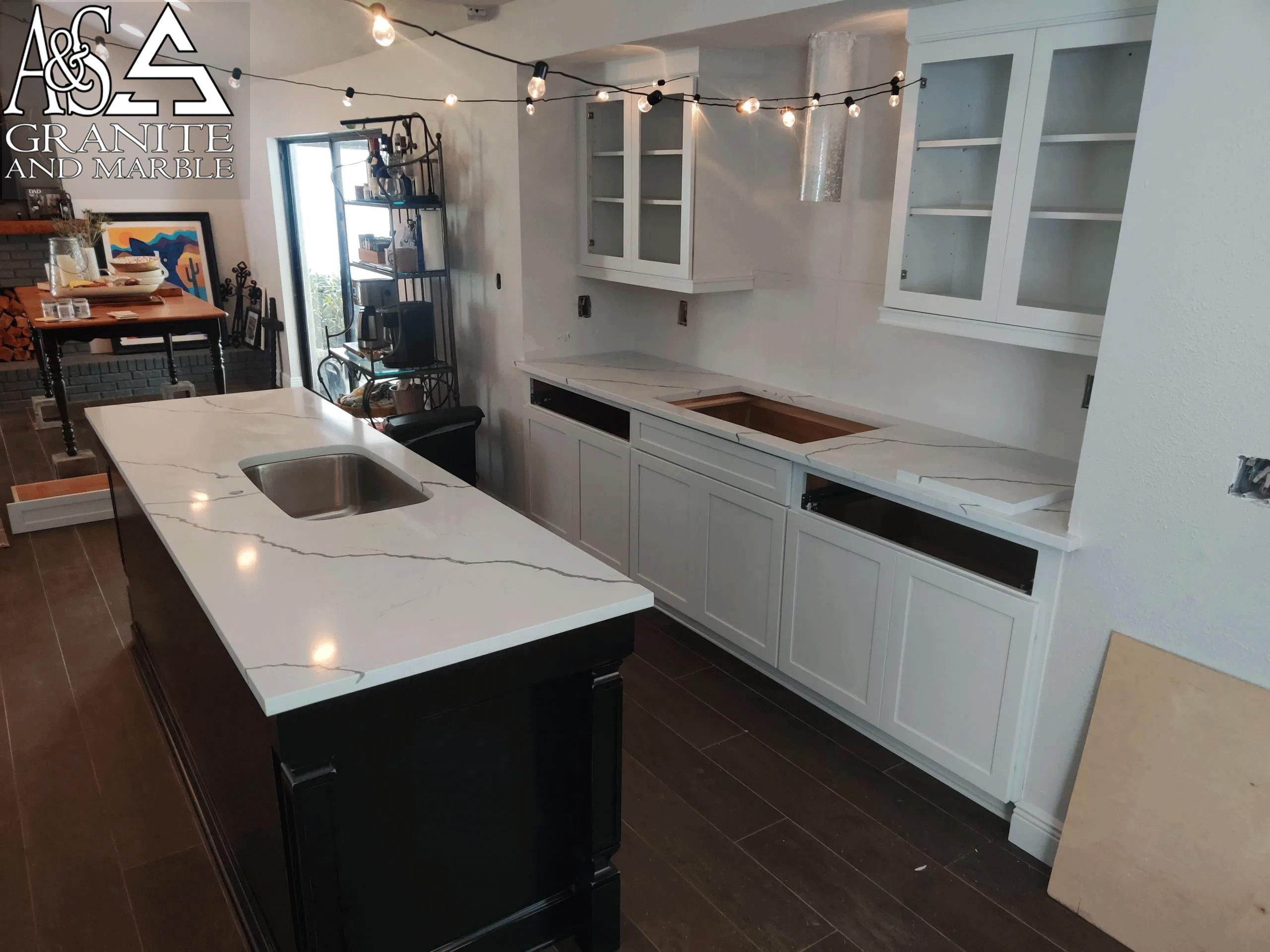 White Quartz Kitchen Countertops - Quartz