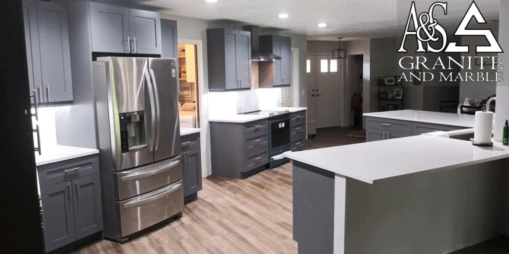 White Quartz Countertop Replacement - Replacing Countertops Job in Tampa, FL Full Kitchen Countertops