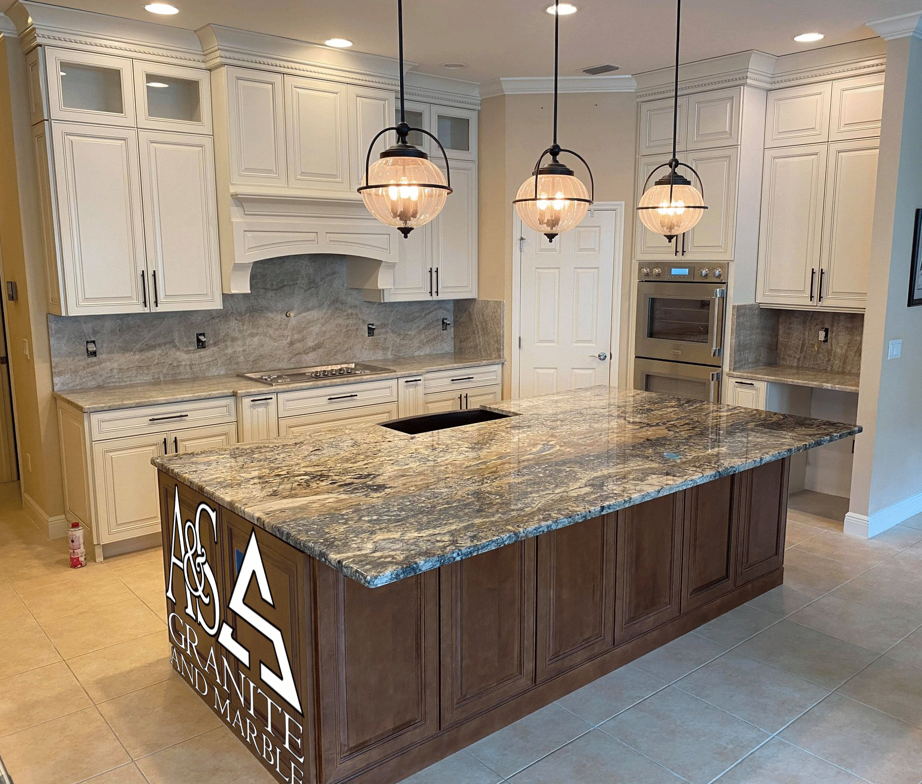 Contrast And Color Beautiful Exotic Quartzite Kitchen With Full Height Splash