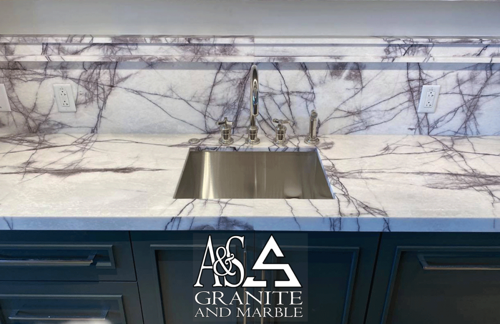 Exotic 2cm Lilac Supreme - Island with Double recessed Stacked lamination quartzite countertops