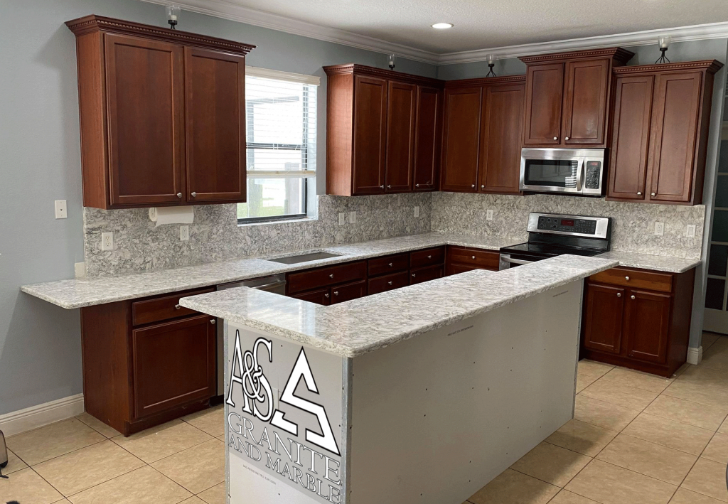 Cambria - Berwyn Quartz Countertops with Full height back splash
